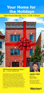 Join me for wine and cheese at 193 Hancock Ave., JC on Sat. Dec 21st. 12pm to 2pm Open House.